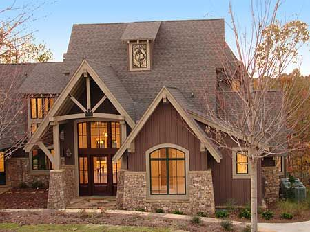 Mountain Craftsman House Plans | Elegant Timbering Stone And Expansive Windows Hint At What S In