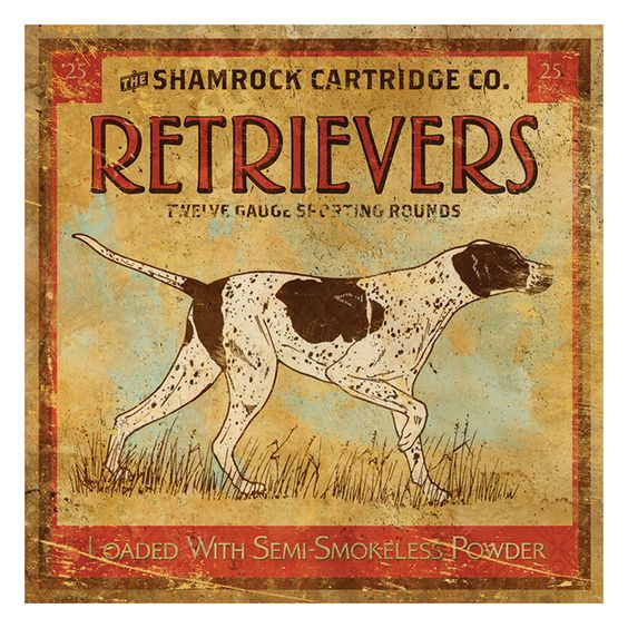 Retrievers Cartridges Vintage Graphic Reprint On Canvas By Thos. Baker
