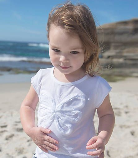 Kids Flutter Sleeve Embellished Butterfly Tee in 100% Organic Cotton : Color - Cloud