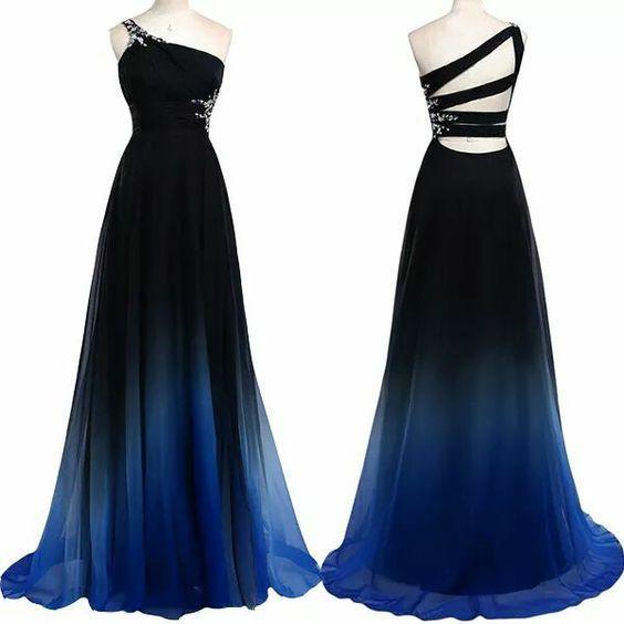 Pd603312 Charming Prom Dress,One-Shoulder Prom Dress,Gradient Color Prom Dress,Chiffon Prom Dress,A-Line Evening Dress: