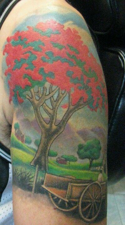 Puerto rico flamboyant tree and wagon tattoos for Puerto rican tattoo