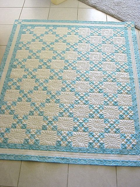 turquoise nine patch quilt