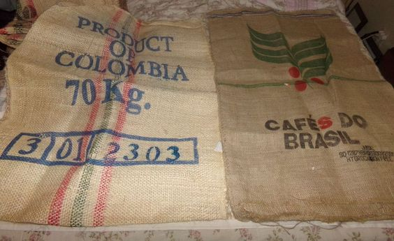 "Printed burlap bags large 41"" x 29"" approximate style e 2 bags"