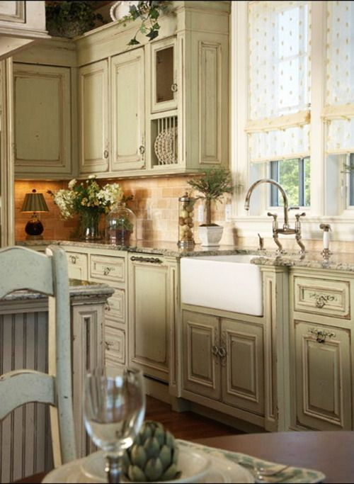 Love the wood floor painted distressed cabinets solid for Beautiful painted kitchen cabinets
