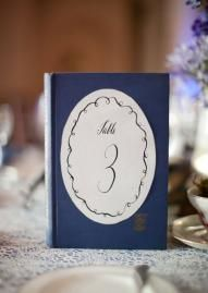 Unique table numbers using a book and beautiful typography.  Photo by Candi Coffman Photography.  #wedding #book #tablenumber #vintage