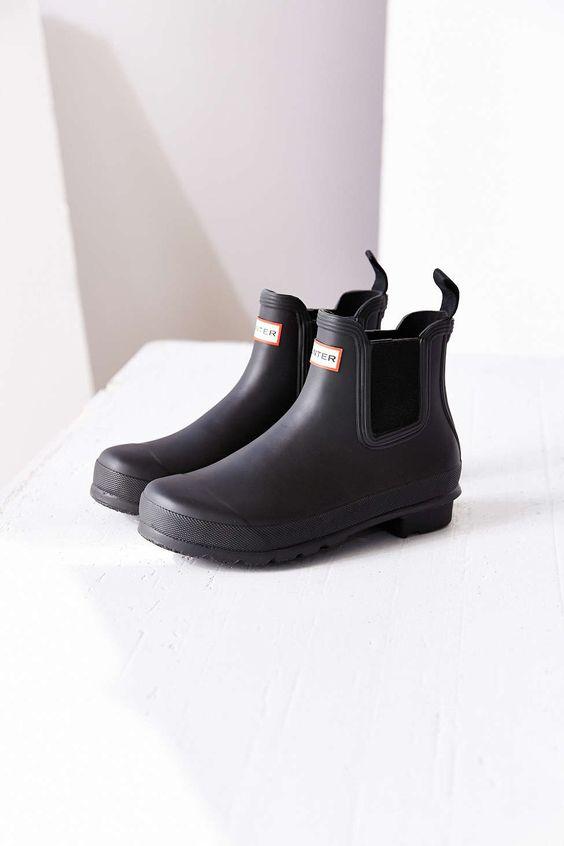 Hunter Original Two-Tone Chelsea Rain Boot -http://us.hunterboots.com/female-short-rains/womens-original-chelsea-boots/black/2015  In size 8 and all black.
