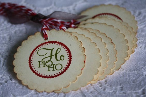 Handmade Vintage Style Gift Tags  Set of 8  HO HO HO  by wkburden, $4.99