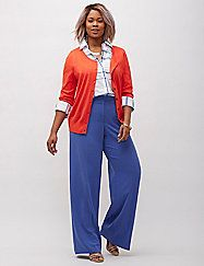 Dramatic wide leg pant is a total power play in any of the season's hottest shades, and we gave ours max wow factor in luxurious crepe. Our Infinite Stretch crepe is unbelievably smoothing with amazing stretch and retention and ultra flattering so you look pulled together all day. Four pockets. Double bar