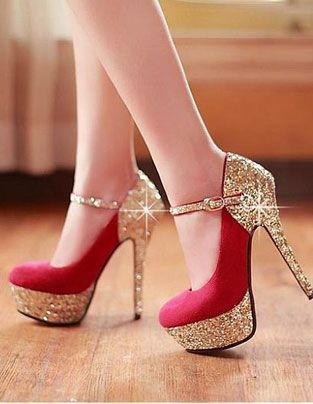 Bright red Red High Heels, platform base, and stiletto heels - only $115: