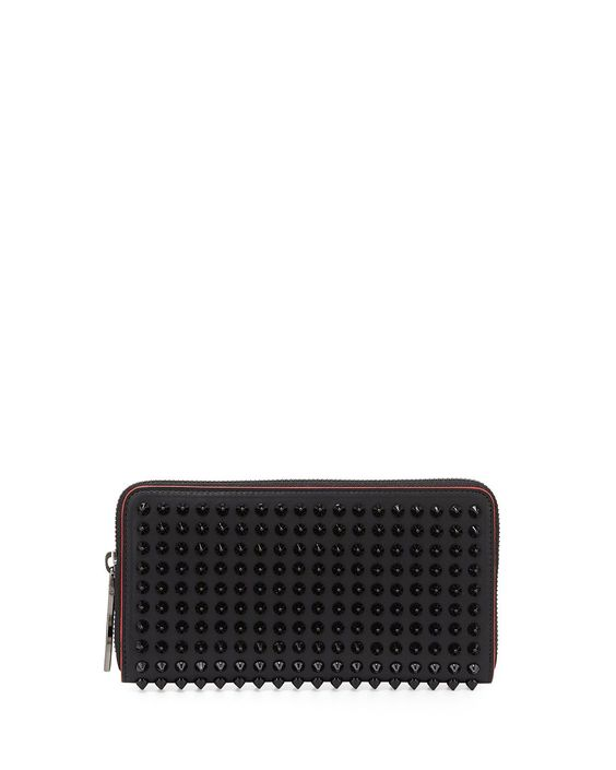 Christian Louboutin Panettone Spike Stud Continental Wallet, Black