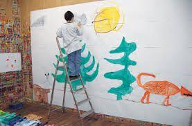 jeu de peindre - Quand l'espace se dilate , quand la personne (l'âge importe peu ) trace à la mesure de son besoin d'espace : Une des particularités des jeux de peindre ! :-)