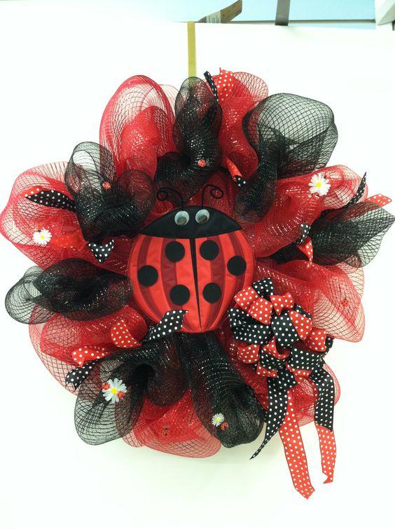 Lady bug deco mesh wreath floral design tara