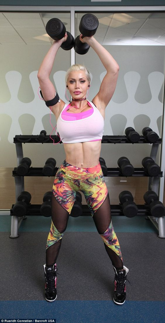 The aspiring model works out for up to five hours a day in a bid to slim down even further