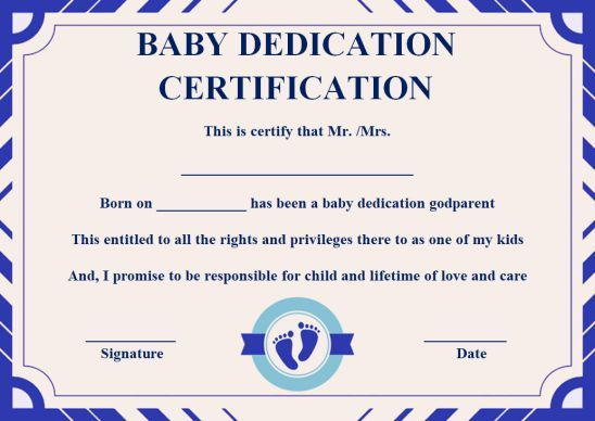 Baby Dedication Certificate With Godparents God Parents Baby Dedication Baby Dedication Certificate