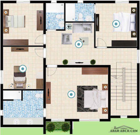 فيلا النرجس مساحة الأرض 260 متر مربع 5 غرف نوم Arab Arch Floor Plans
