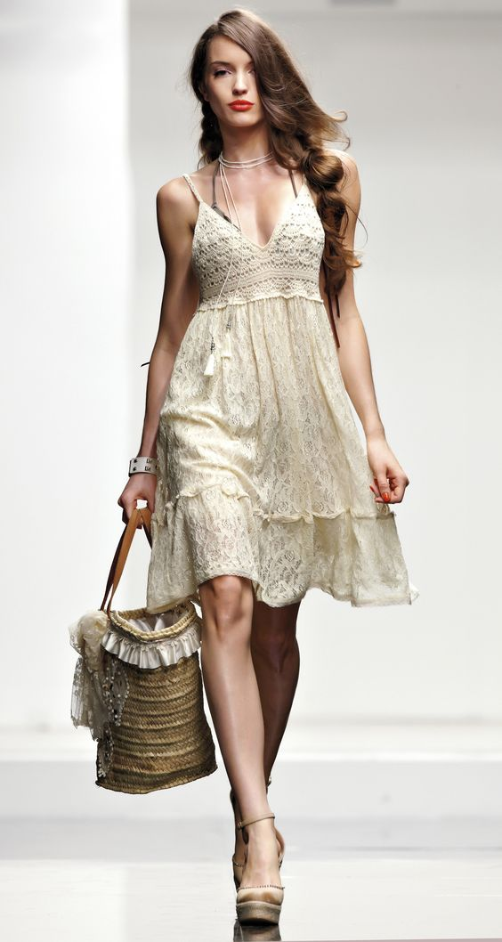 TWIN-SET Beachwear collection:  Lace dress with macramé lace on the top, beach bag in jute with double handles, fabric wedge and strass with ankle buckle