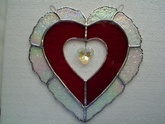Lovely heart with crystal by rdjglass4u on Etsy