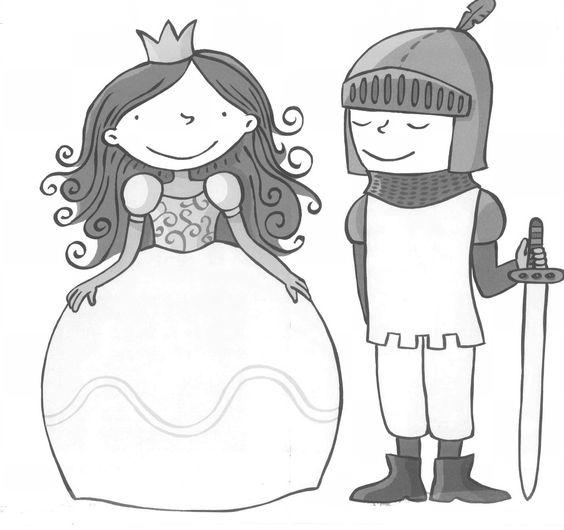 tekening ridder jonkvrouw thema ridders kastelen en