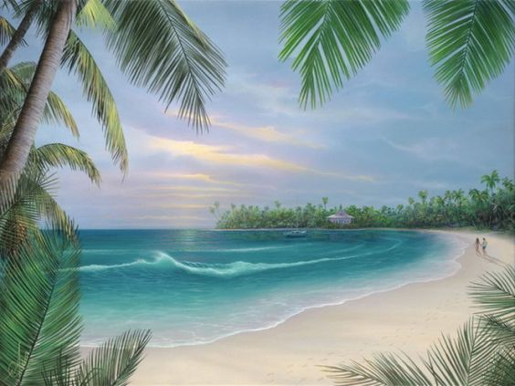 wallpaper murals hawaiian beach scene with tropical wall