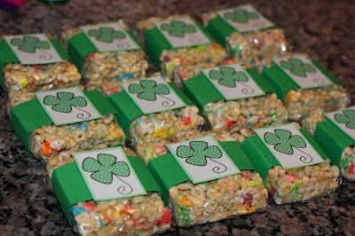 Saint Patrick's Day: Lucky Charm Bars.  Walking across the football field for homecoming, my son has the announcer read that one of his activities is eating Lucky Charms.   I need to make these for my silly boy.
