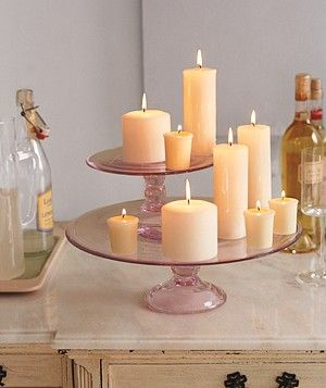 Candles on cakestands