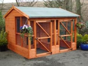 Details about Large Two Dog House  Kennel Run x Delvd    dog house for multiple big dogs   Large Two Dog House  Kennel Run x