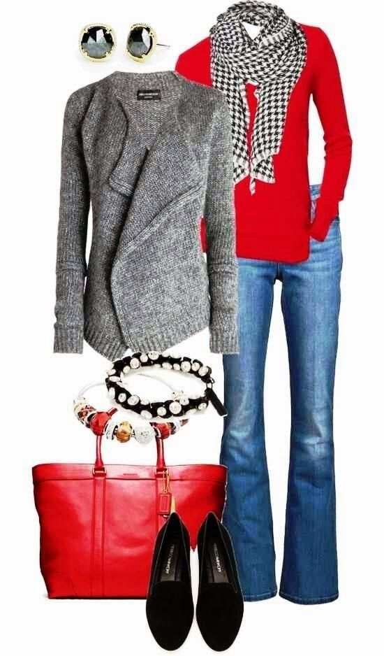 women Fall Fashion Outfits | ... fall outfits with scarf, cardigan and sweater | Women Fashion Galaxy