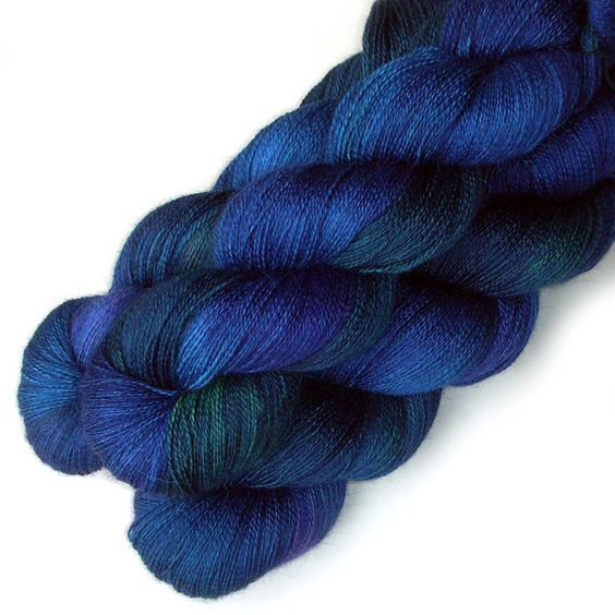 Lace Yarn Baby Alpaca Silk and Cashmere  Blue Drake by JulieSpins