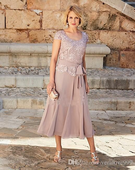 Gorgeous Dusty Rose Pink Mother Of The Bride Dresses Short Sleeves Jewel Tea Length Plus Size Groom Suits Gowns Weddings Wear Plus Size Mother Of The Bride Gown Mother Of Groom