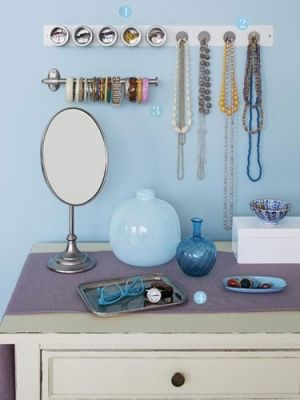 Love the magnetic containers & hooks and the wall-mounted paper-towel holder for bangles is GENIUS! by dee