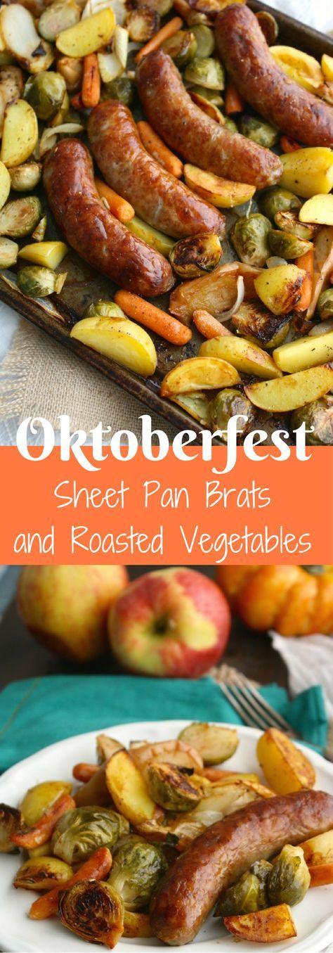 Oktoberfest Sheet Pan Brats with Roasted Vegetables