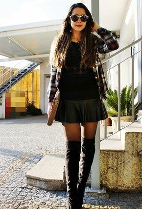 Plaid power! Short skirt thigh high boots plaid button up shirt