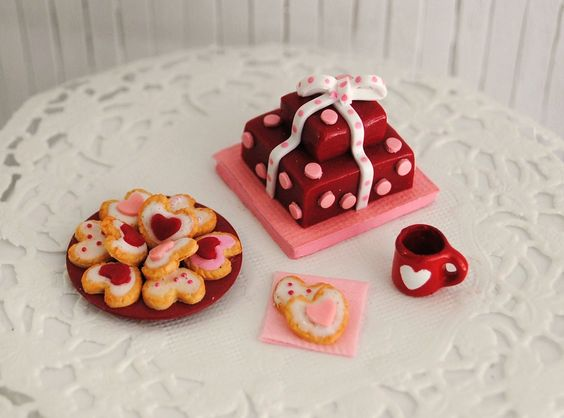 Miniature Valentine Cake With A Pink Polka by LittleThingsByAnna