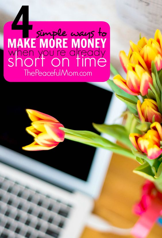 Need some extra cash but you're already really busy? Check out these 4 easy ways to make money when you're short on time. From ThePeacefulMom.com