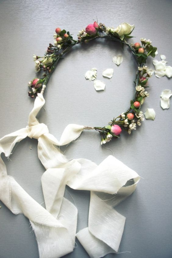 ...  Tutoriel Pour Une Couronne De Fleurs, Bandeaux Fleurs et Bricolage