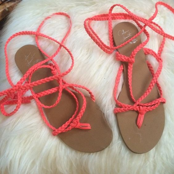 Colin Stuart wrap shoes Cute bright summer colored lace up sandals. So cute on!! ✨ Shoes Sandals