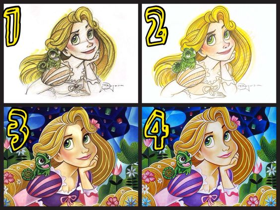 """The Progression of """"Flowers in Her Hair"""" by Tim Rogerson (I added the numbers to the art)"""