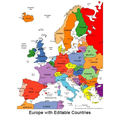 printable map of western europe – Travel Maps Europe