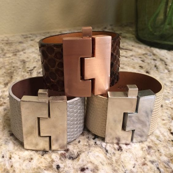 Leighelena Cuff Bracelets Bone Lizard with silver buckle.    Silver Lizard with silver buckle.   Brown Python with rose gold buckle. Leighelena Jewelry Bracelets