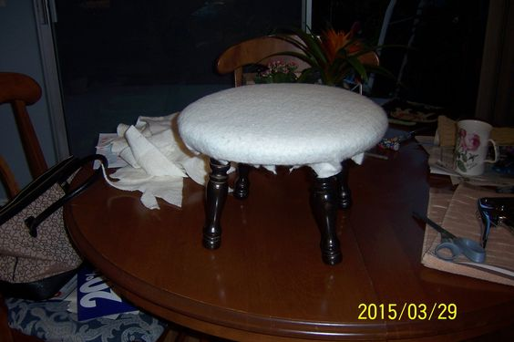 all new foam and batting added to stool