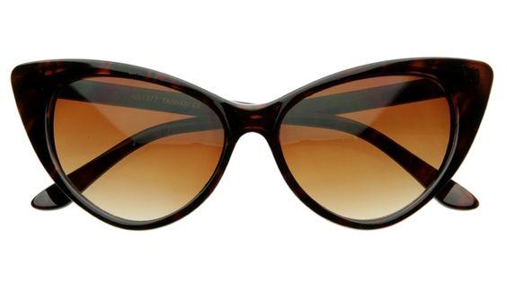 Pointed Vintage Dark Tortoise Cat Eye Sunglasses 8371ZU