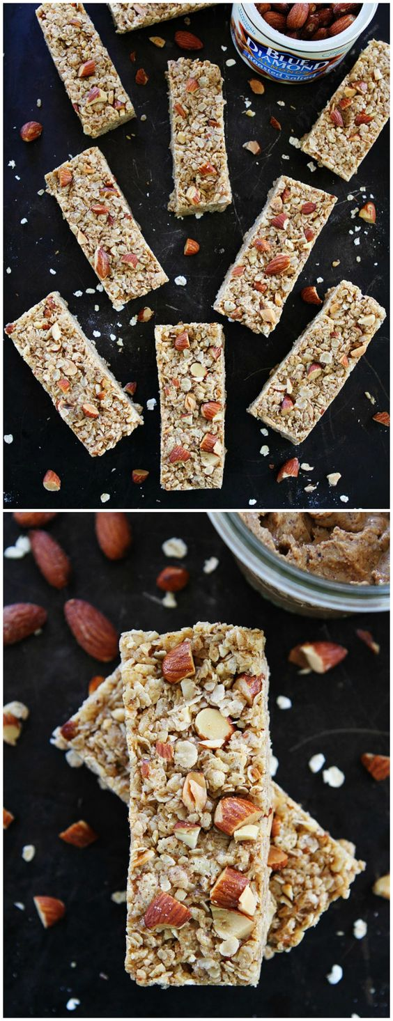 No-Bake Almond Granola Bars Recipe on twopeasandtheirpod.com These easy and healthy granola bars make a great breakfast on the go or anytime snack!