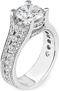 Michael M. Triple Row Diamond Engagement Ring R401-1