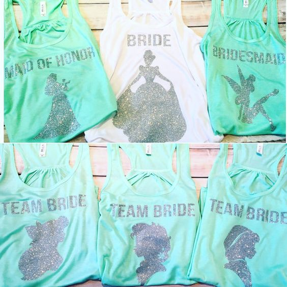 Bachelorette Party Tanks With Your Favorite Disney Princesses!  Perfect for bachelorette parties!  Sayings available are Bride, Maid of Honor, Matron of Honor, Mother of the Bride, Bridesmaid, Team Bride.  Princesses available are Cinderella, Ariel, Aurora, Jasmine, Rapunzel, Pocahontas, Merida, Snow White, Tiana, Belle, Elsa, Anna and Tinkerbell.  Tanks are Bella Canvas and are top of the line quality! Colors available are white, white marble, black, black marble, mint, neon pink, soft…