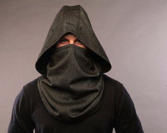 Futurista ropa de lana con capucha bufanda / hombres por snowstore