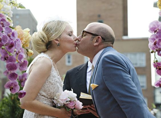 Pin for Later: The Ultimate Movie and TV Weddings Gallery White Collar Mozzie (Willie Garson) weds Eva (Megan Dodds).
