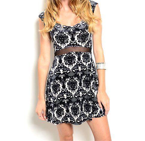 40%+OFF!!+Damask+Print+Mesh+Waist+Dress
