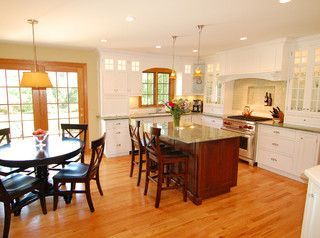 honey oak with white trim | White kitchen with oak trim ...