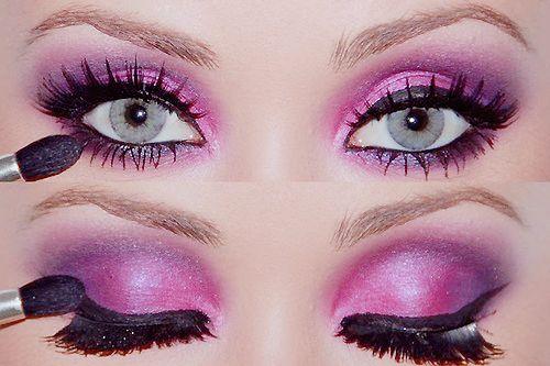 Love purple makeup shadow on green