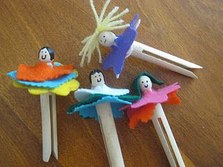 Little flower clothespin people